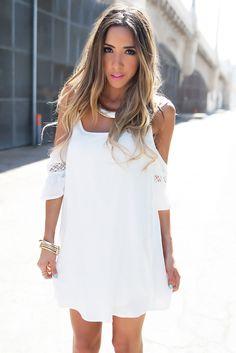 CLARICE OFF SHOULDER DRESS - White