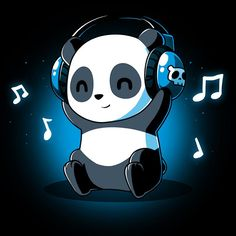 Panda Playlist t-shirt TeeTurtle