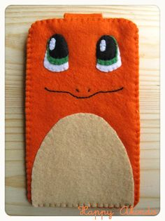 Charmander Pokemon felt phone case with velcro clousure