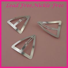 50 Snap Hair Clips 30mm Silver Metal Tear Drop Shape with Hole Barrettes
