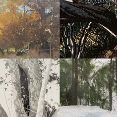 Details of details. The cross hatching cutting and small brush skills of Ann Lofquist Leonardo Nuñez Erling Sjovold and Susan Petty. On view now In out Holiday exhibition thru Jan 22. #crosshatching #oilpainting #linoleumcut #reductivelinoleumcut #landscapepainting #trees
