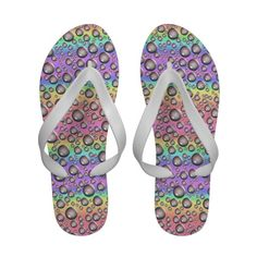 Rainbow Waterdrops Flip Flops