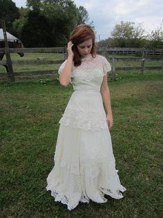 Wedding Dress 70's maxi ivory lace polka dot gown Modest Wedding Dress