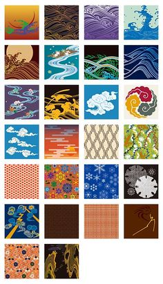 和柄の伝統文様やパターンを使った背景イラスト素材(6)