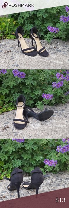 Rue 21 ETC! Strappy Heels Size 7/8 Cute and simple strappy heels perfect for summer! Worn once to an outdoor wedding. In good condition. I added one hole to the strap to fit tighter on my ankle. Etcetera Shoes