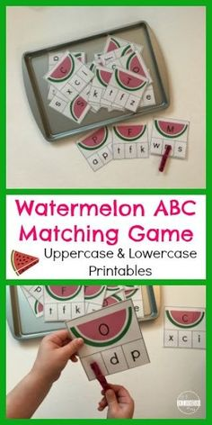 FREE Watermelon Letter Matching Game for Kids - this is such a fun LOW PREP alphabet match activity for preschool and kindergarten age kids to practice identifying upper case and lower case letters with a fun summer hands on educational activity Abc Games, Alphabet Activities, Preschool Activities, Learning Letters, Preschool Learning, Upper And Lowercase Letters, Lower Case Letters, Lowercase A, Letter Games For Kids
