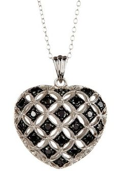 Silver & Black Rhodium Plated Black & White Diamond Cutout Heart Pendant Necklace on HauteLook