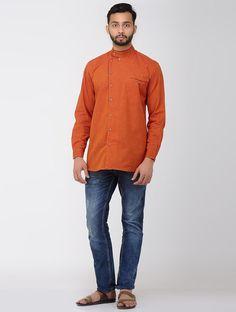 Buy Orange Full Sleeve Shirt with Front Pocket Mangalgiri Cotton Men Shirts Online at Jaypore.com Men Shirts, Shirts Online, Men Online, Shirt Sleeves, Men Sweater, Pocket, Orange, Guys, Sweaters