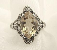 Silver Filigree Citrine Ring