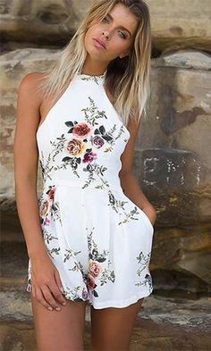 Flower Youngster Floral Sleeveless Halter Tie Neck Pleated Romper Playsuit – 2 Colours Accessible Related posts: Stylish Boho Backless Ruffle Romper Lace up Sq. neck Random Floral Print Playsuit in Navy Cute Rompers, Rompers Women, Jumpsuits For Women, Baby Rompers, Cute Casual Outfits, Cute Summer Outfits, Summer Dresses, Backless Playsuit, Romper Outfit