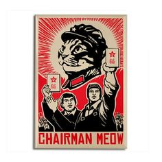 Cats in Art and Illustration I Love Cats, Crazy Cats, Illustrations, Illustration Art, Street Art, Propaganda Art, Chinese Propaganda, Communist Propaganda, Kunst Poster
