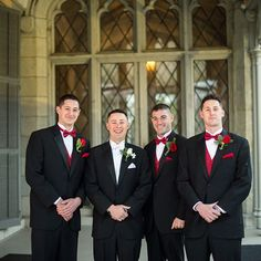 Real Weddings - In Bliss Weddings  While Tommy's accent color was white, he dressed his three groomsmen in black tuxedos with a red rose boutonniere, red pocket square, red bowtie, and red vest.
