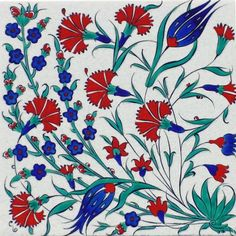Iznik Tile An important cultural center during the reign of Suleyman the Magnificent, the rural town of Iznik Turkish Art, Turkish Tiles, Portuguese Tiles, Moroccan Tiles, Islamic Patterns, Chinese Ceramics, Japanese Pottery, Tile Art, British Museum