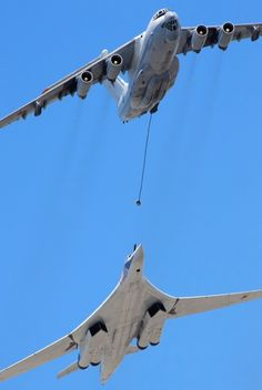 """flytofight: """" A Tupolev Tu-160 """"Blackjack"""" refuels from a Ilyushin Il-78 """"Midas"""". The Tu-160 was introduced in 1987 in response to the American B-1 bomber. the B-1, however, was considered by some in the U.S military to already be obsolete, due to..."""