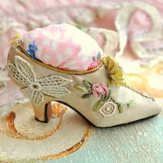 Marie Antoinette's pump.. victorian ribbon work pin cushion