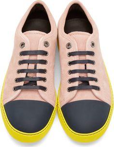 Lanvin Grey Navy Colorblocked Suede Sneakers