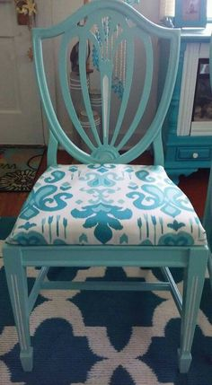 Shield back chair in turquoise with a nautical upholstery!  Facebook.com/coastalcottageinteriors