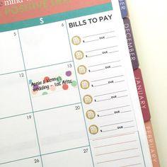 Bill tracker stickers for Erin Condren Life Planner by FayeCreates