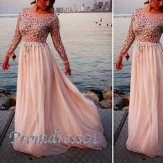 prom dress 2015,cute long sleeves round neck sparkly sequins floor-length chiffon prom dress, plus size dress for teens, ball gown #promdress