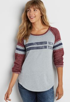 burnwash pullover fleece sweatshirt with New York graphic (original price, $32.00) available at #Maurices