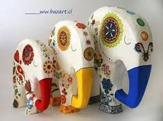 Imagen relacionada Elefante Hindu, Decoupage, Elephant, Statues, Animals, Ideas, Painted Elephants, Cute Art, Mandalas