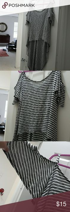 High low, cold shoulder top Torrid size 3 Black &white stripe.. front 23inches back 42inches Tops