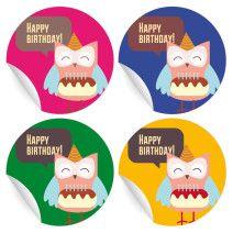 24 bunte Geburtstags Aufkleber mit kleiner Eule und Kuchen (matt, ø 45mm; 6 x 4 Farben)