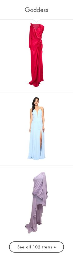 """""""Goddess"""" by infantilejoy ❤ liked on Polyvore featuring dresses, gowns, long dresses, red, women, pink evening dress, long pink dress, red gown, pink gown and red v neck dress"""