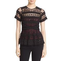 Women's Parker 'Shannon' Beaded Lace Peplum Top (£310) ❤ liked on Polyvore featuring tops, black, beaded top, striped top, parker tops, peplum tops and short sleeve peplum top