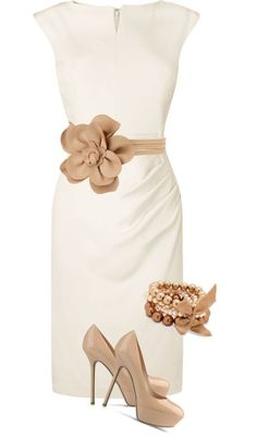 white and beige - classy outfit Breath taking! I need a tan belt to match my shoes (women's classy style ideas) Mode Chic, Mode Style, Style Me, Mode Outfits, Fashion Outfits, Womens Fashion, Fashion Trends, Outfits 2014, Ladies Fashion