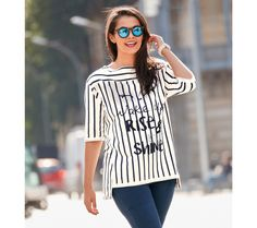 Asymetrická mikina s pruhmi   modino.sk #modino_sk #modino_style #style #fashion #leto #party Graphic Sweatshirt, T Shirt, Pulls, Curvy, Sweatshirts, Sexy, Sweaters, Gilets, Women