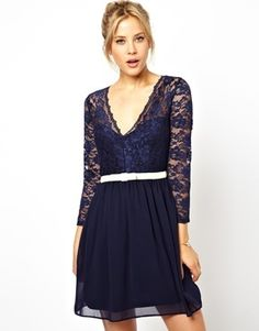 ASOS 3/4 Sleeve Lace Scallop Skater Dress - Navy