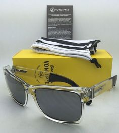 6340f64f32 New VONZIPPER Sunglasses VZ ELMORE Crystal Clear   Black Frame w  Grey  Chrome