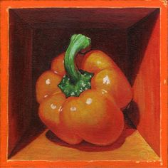soothed by rainfall studios - Boxed Still Life: Pepper Series Forest Illustration, Painting Still Life, Wallis, Acrylic Painting Canvas, Paintings For Sale, So Little Time, Be Still, Stuffed Peppers, Orange