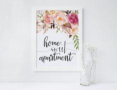 PRINTABLE Art Home Sweet Apartment Floral Art by WishfulPrinting
