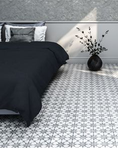 Inspired by the geometric designs of the early 20th-century cement tiles produced in Havana, the Cuban collection brings ageless beauty to your space 🖤   Who else wishes this was their bedroom? 🙋♀️ Wall Tiles, Cement Tiles, Tile Patterns, Geometric Designs, Shades Of Grey, Your Space, Ageless Beauty, Cuban, Bedroom