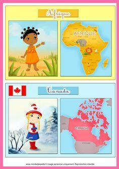 Fiches pour apprendre les pays du monde                                                                                                                                                                                 Plus Montessori Materials, Montessori Activities, Maria Montessori, Diversity Activities, Primary School, Pre School, World Thinking Day, Homeschool Kindergarten, Cultural Diversity