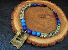 African Bead Choker Ethnic Necklace Ancient Akan Brass Pendant