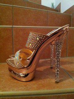 mules or et strass Gianmarco Lorenzi Me Too Shoes, Shoe Boots, Shoes Heels, Stiletto Heels, Beautiful High Heels, Clearance Shoes, Shoe Art, Sexy Heels, High Heels
