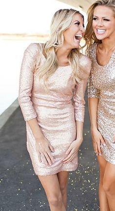 Sparkles Party Dress Peach Champagne CLEARANCE - Modern Vintage Boutique