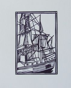 Galleon linocut letterpress print by rubyvictoria on Etsy, $30.00