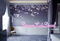 Wall Decal Cherry Blossom branch vinyl wall decals,Wall sticker,Nursery girl baby wall decals-Flower Tree with teal flying birds-DK121 SIZE: overall wide is approx. 102 inches The decals can be reversed/mirrored. Just mention it in the message to seller section of checkout. [WHATS