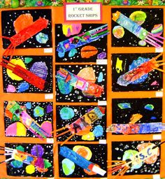 Art Education Blog- 1st grade rocketships maybe use different textured paper? Eric carle style?