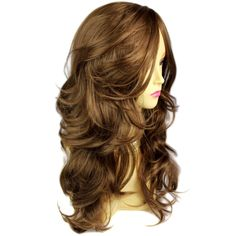 Wonderful wavy Long Light Brown Curly Cocoa Ladies Wigs skin top Hair WIWIGS UK