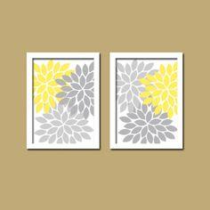 Gray And Yellow Wall Decor yellow gray bathroom wall art, canvas or prints, flower bathroom