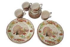 Ironstone China w/ Turkey Motif, 30 Pcs