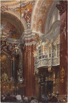 Adolph Menzel (1815-1905) This long-lived German artist made important contributions in oil, pencil, watercolor, and engraving, but it was said of him that he expressed his greatest truths in gouache.  Menzel, The Interior of the Jacobskirche at Innsbruck, 1872, 15 3/4 × 10 5/16 in.