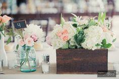pink peony with blue & succulent flower arrangements