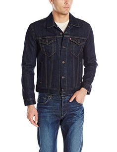 Levi's Men's The Trucker Jacket, Rinse, XX-Large: Classic button-front denim jacket featuring dual flap chest pockets with logo tag Adjustable button waistband and cuffs Regular fit Please refer to the secondary image for size chart Jaket Jeans, Levis Jacket, Denim Jacket Men, Bomber Jacket, Men's Denim, Denim Jackets, Denim Jacket Fashion, Stylish Mens Outfits, S Man