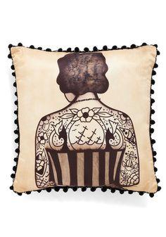 Ink Differently Pillow - Tan, Black, Novelty Print, Trim, Vintage Inspired, Dorm Decor